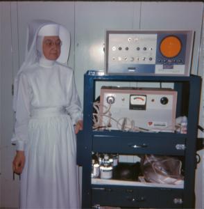 Nun with Hospital Equipment Vintage Photo